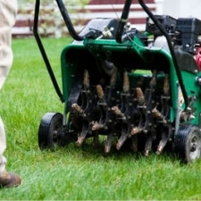 Lawn Being Aerated